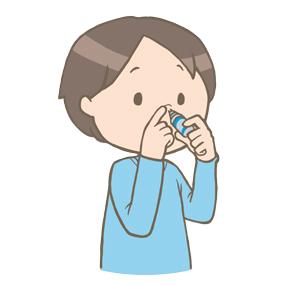 点鼻薬をさす男性のイラスト