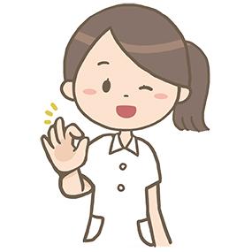 指でOKサインを出している看護師のイラスト※上半身のみ