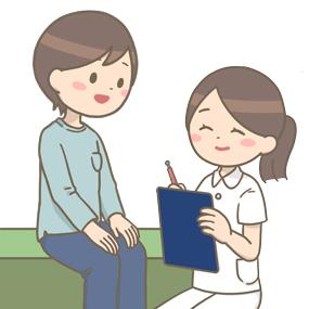 看護師が患者さんに問診をしているイラスト
