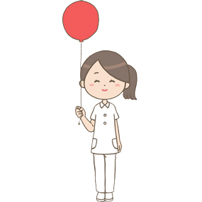 赤い風船を持っている看護師のイラスト