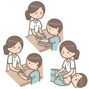 看護師が体温測定・血圧測定・採血を行っているイラスト