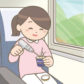 新幹線でカチコチのアイスを外科用ドリルで砕く看護師のイラスト