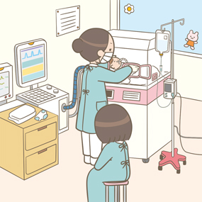 新生児集中治療室(NICU)で呼吸器挿管中の患児のケアをしている看護師のイラスト