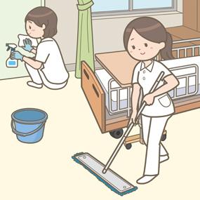 病室の掃除をしている看護師のイラスト