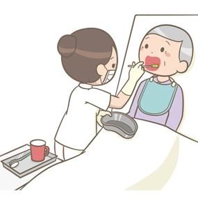 看護師が患者の口腔ケアをベッド上でおこなっているイラスト