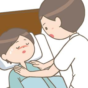患者さんの意識を確認している看護師のイラスト