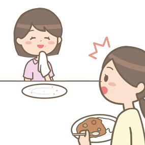 職業病でつい早食いをしてしまう看護師のイラスト