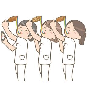レインボーチーズドッグを伸ばしまくる看護師たちのイラスト