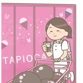 タピオカのテーマパークではしゃぐ看護師のイラスト