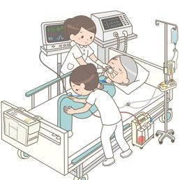 胸腔ドレーン・点滴・呼吸器を装着した患者の体位交換をする看護師のイラスト
