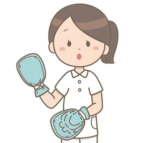 身体抑制の体験をしている看護師のイラスト(両手ミトン)