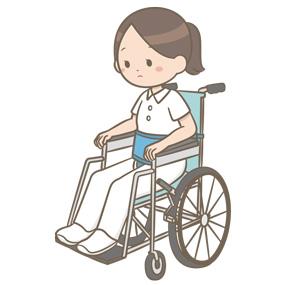 身体抑制の体験をしている看護師のイラスト(車椅子での安全ベルト)