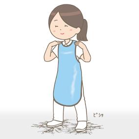 放射線防護エプロンの重みを感じる看護師のイラスト
