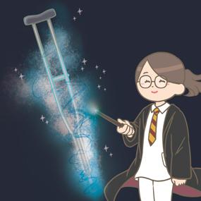 魔法の力で無から松葉杖を生成する看護師のイラスト