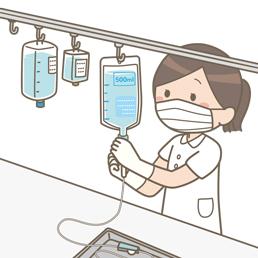 作業台で点滴の準備をしている看護師のイラスト