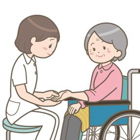 ハンドマッサージをする看護師のイラスト