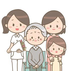 看護師が花束も持ち患者さんの退院をお祝いしているイラスト