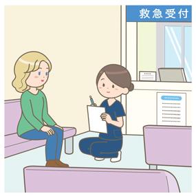 看護師が救急外来で外国人患者に問診をしているイラスト