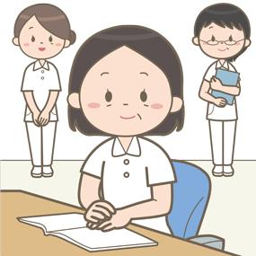 看護部長さんを中心として看護課長さん(看護師長さん)が集合しているイラストです。