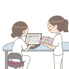 先輩看護師への申し送りに緊張する看護師のイラスト