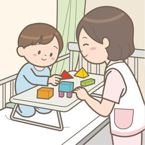 看護師が入院している小児と積み木をして遊んでいるイラスト