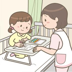 看護師が入院している小児と塗り絵をして遊んでいるイラスト
