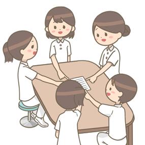看護師が複数人で指差し呼称をしているイラスト