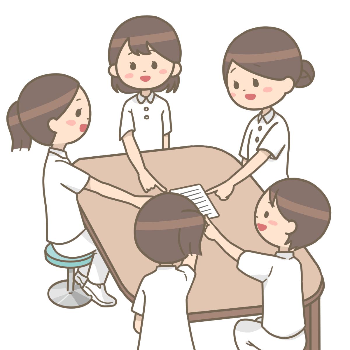 看護師が複数人で指差し呼称をしているイラストフリー素材