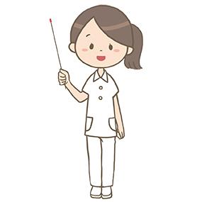 指示棒を持ち説明する看護師のイラスト