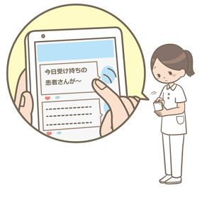 看護師がSNSに患者の個人情報を投稿しているイラスト(注意喚起用)