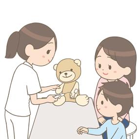 ぬいぐるみを使って小児に採血のプレパレーションを行っている看護師のイラスト