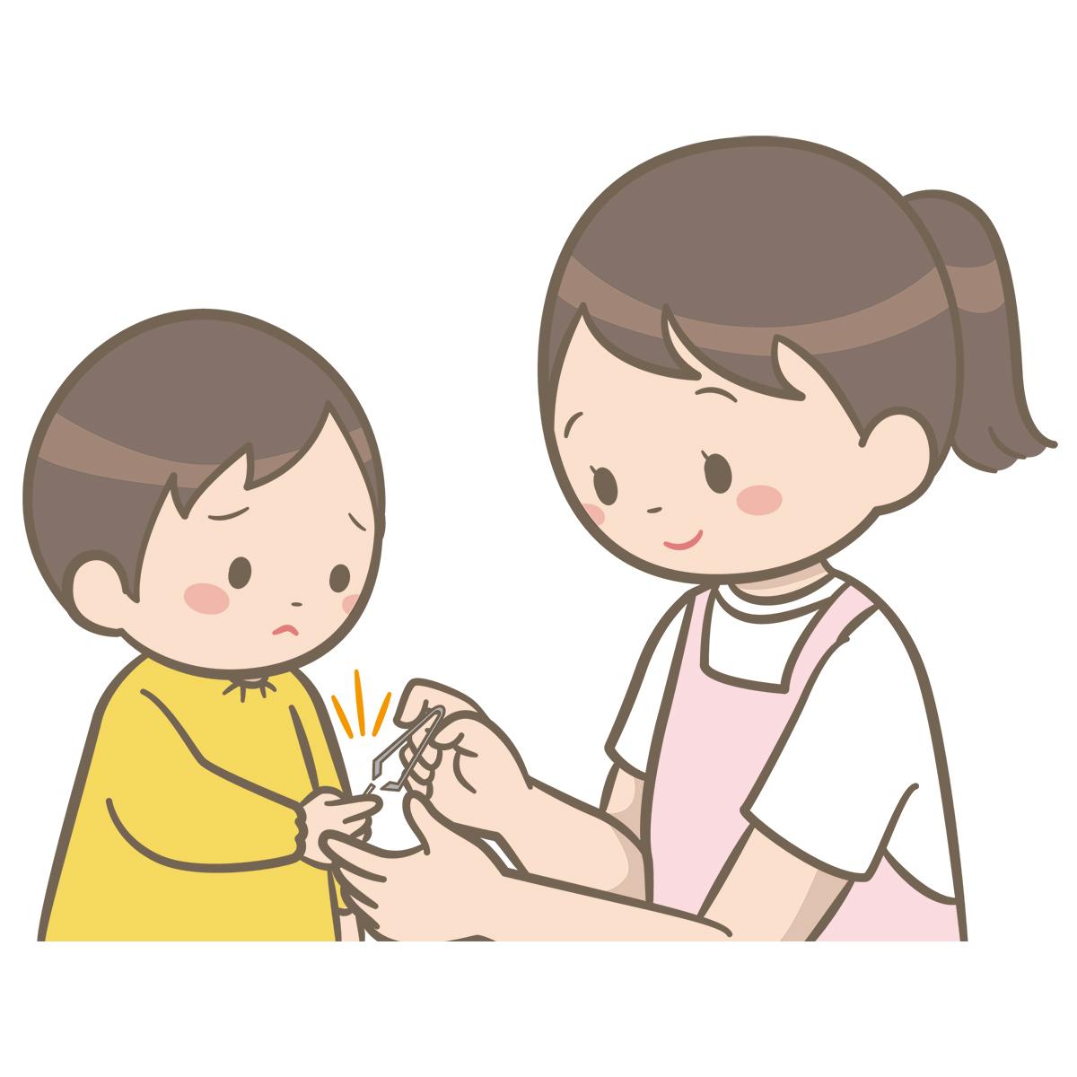 看護師が保育園で幼児の手に刺さった棘を抜いているイラスト