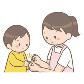看護師が保育園で園児の指に絆創膏を貼るイラスト