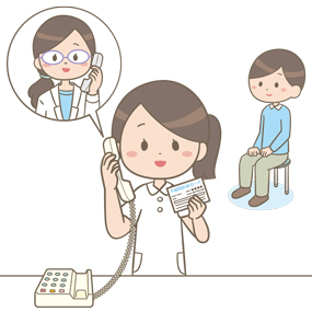 赤血球不規則抗体保有カードを患者から受け取り検査室に電話連絡している看護師のイラスト