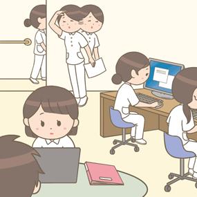 パソコンが満席で記録ができない看護師のイラストです。