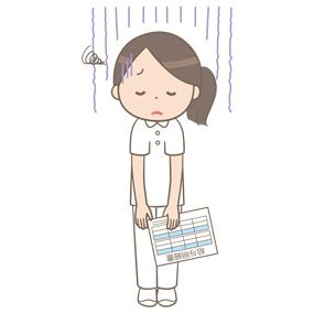 給与明細を見て悲しんでいる看護師のイラスト