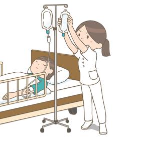 ちょっと背伸びをして点滴交換をする看護師のイラスト
