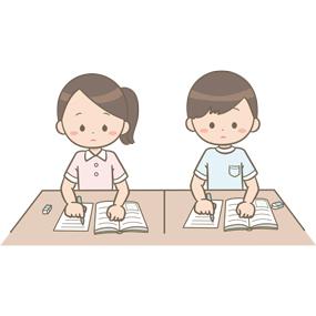 白衣を着た男女の看護学生が勉強しているイラスト