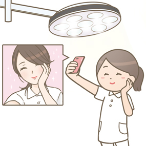 手術室のライトで自撮りする看護師のイラスト