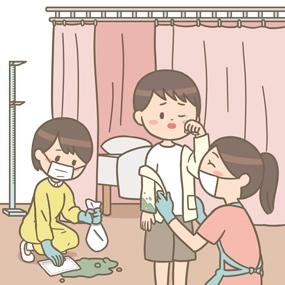 保健室の先生が男児の嘔吐物を処理しているイラスト