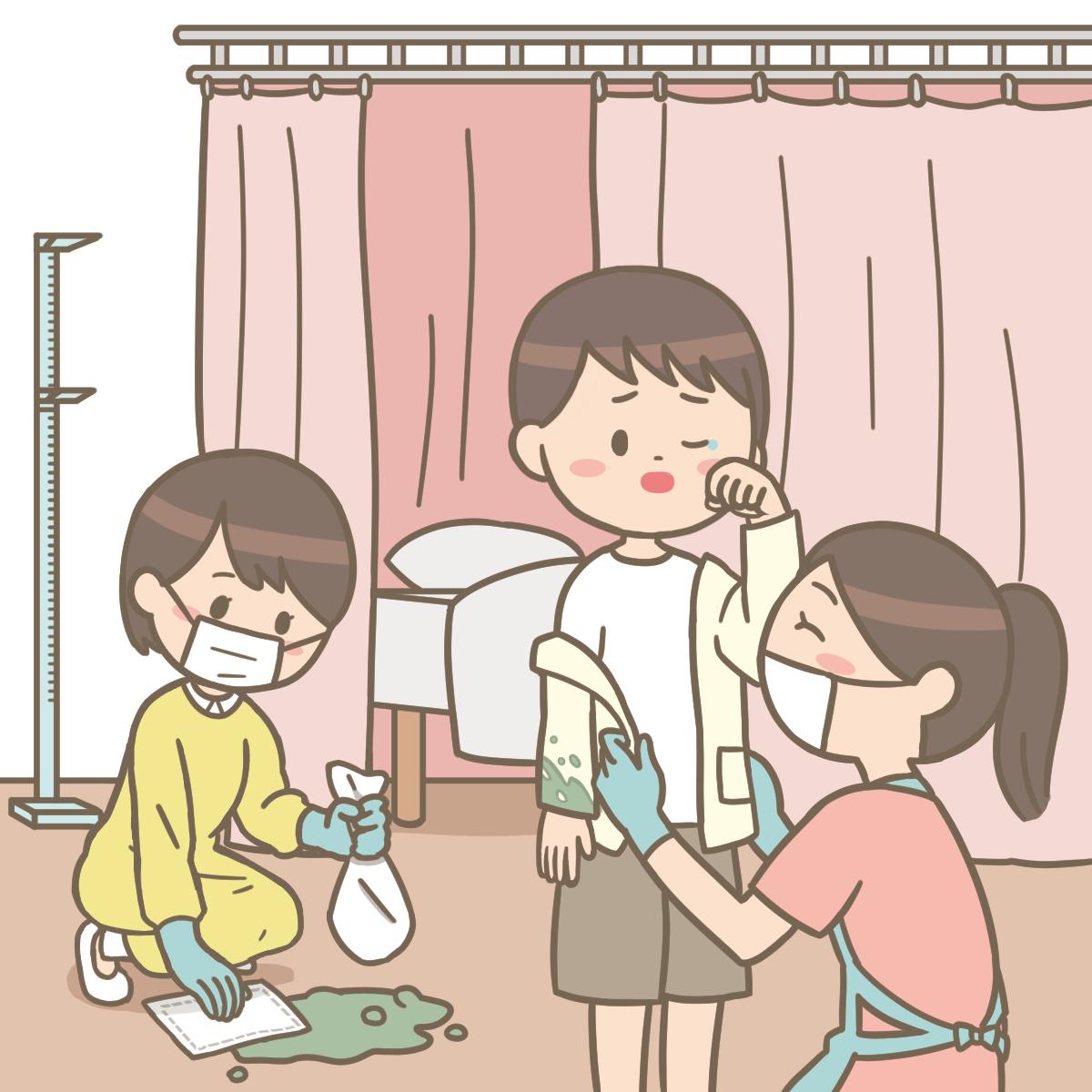 保健室の先生が男児の嘔吐物を処理しているイラストフリー素材