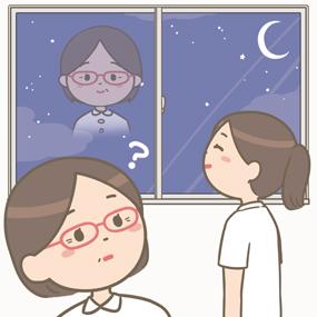 脈略なく夜空に師長さんを思い浮かべる看護師のイラスト
