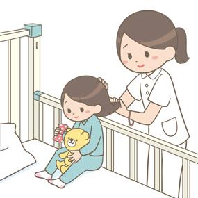 小児(女子)の髪を結ぶ看護師のイラスト