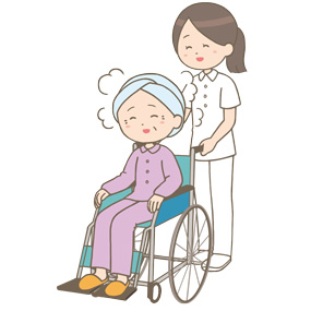 入浴介助をして患者を移送する看護師のイラスト