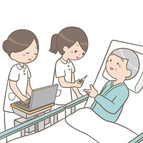 PNS(パートナーシップナーシングシステム)で患者の対応をする看護師のイラストです。