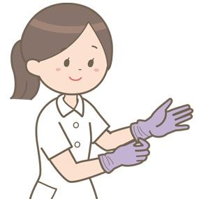 看護師が手袋を装着しているイラスト