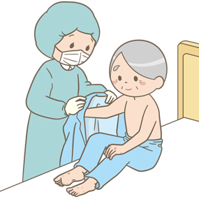 感染予防のために個人防護具を装着した看護師が皮膚病に感染した患者の看護をしているイラスト