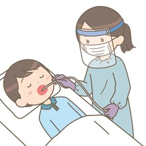 個人防護具をつけた看護師が患者を吸引するイラスト