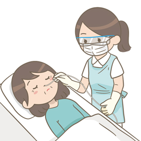 成人の鼻腔内吸引をする看護師のイラスト