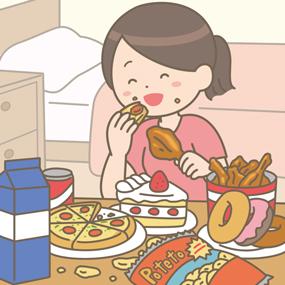 食欲が爆発して歯止めが効かなくなった看護師のイラスト